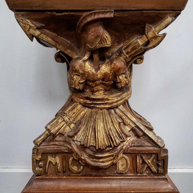 Baroque Baroque Obelisk Shaped Carved Fruitwood Curio Cabinet For Sale - Image 3 of 6