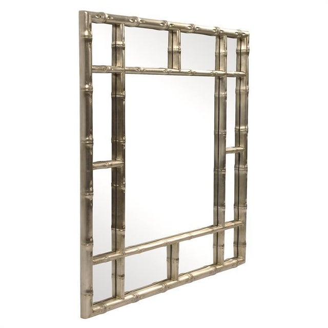 Our Bamboo Mirror features a square frame fashioned to look like bamboo rods. It is then finished in our silver finish....