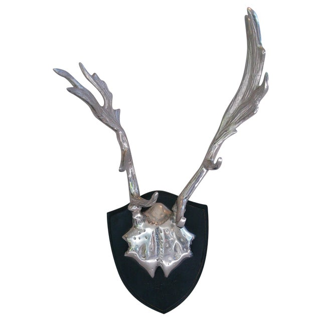 Faux Mounted Stainless Steel Deer Trophy Antlers - Image 1 of 7