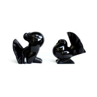 Fitz & Floyd Ceramic Bird Bookends, Black Finish