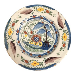 Mid 18th Century Delft Polychrome Charger For Sale