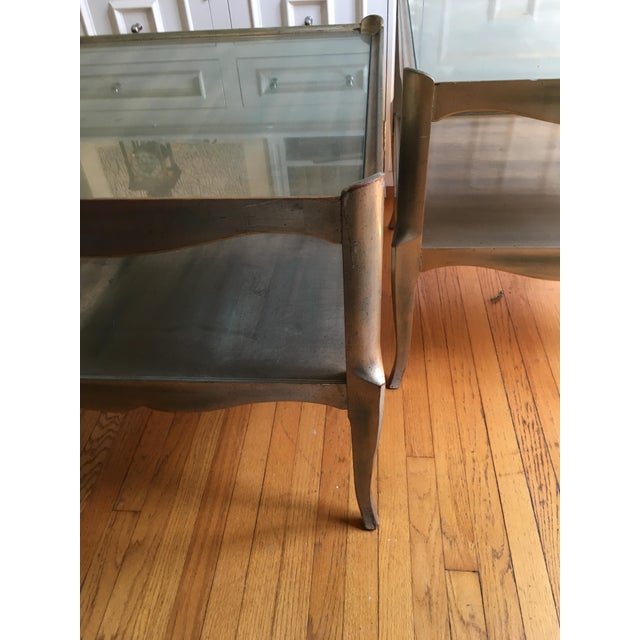 Mid-Century Modern Leafed Glass Top Side Tables - a Pair For Sale - Image 3 of 13