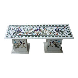Inlaid Vintage Pietra Dura Marble Bench For Sale