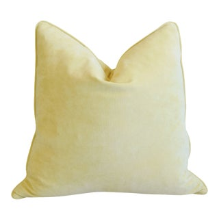 """Sunflower Pastel Yellow Velvet Feather/Down Pillow 24"""" Square For Sale"""