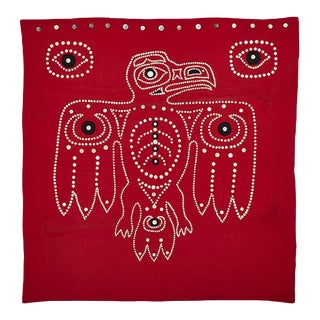 Nw Coastal Native Button Blanket W/ Eagle Motif Circa 1950s