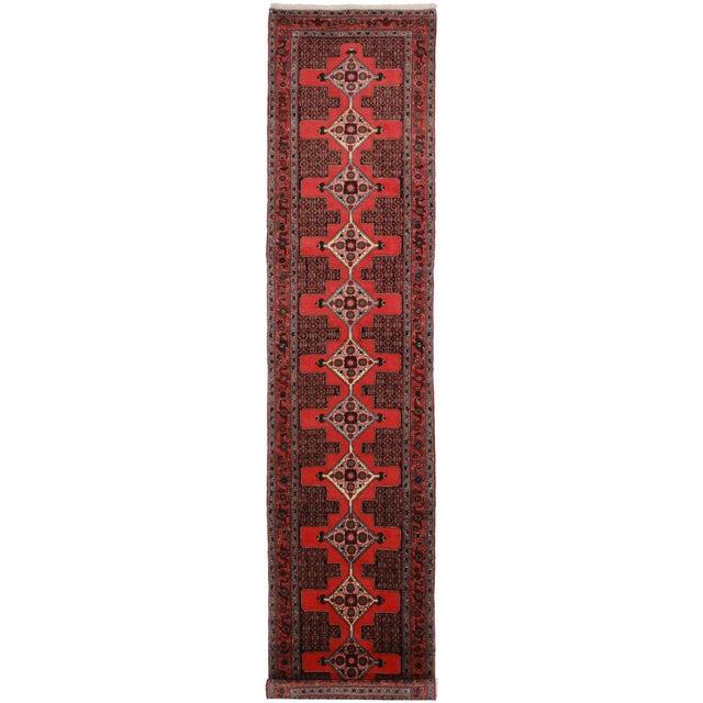 """Vintage Wool Persian Seneh Runner - 2'10"""" x 12'10"""" For Sale"""