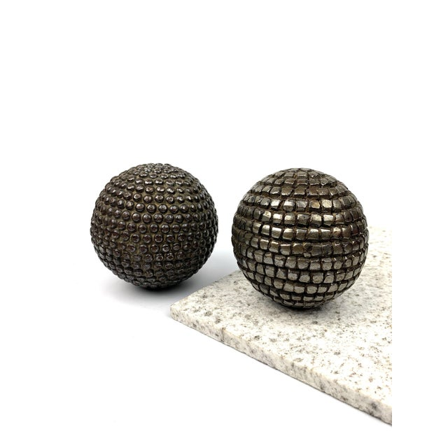 Antique pétanque playing balls. Late 19th - early 20th century. These styles were made by hammering nails into a wooden...