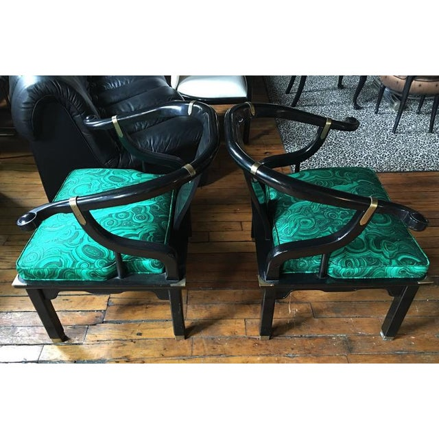 Asian James Mont Style Malachite Lacquer Lounge Chairs by Century- A Pair For Sale - Image 3 of 7