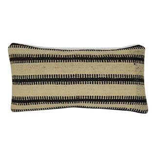 Striped Unique Turkish Lumbar Kilim Pillow Cover, Ethnic Wool Cushion Cover 10'' X 20'' (25 X 50 Cm) For Sale