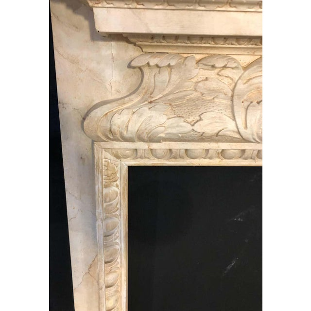 Swedish Painted and Distressed Decorated Fire Surround in Faux Marble Finish For Sale - Image 12 of 13