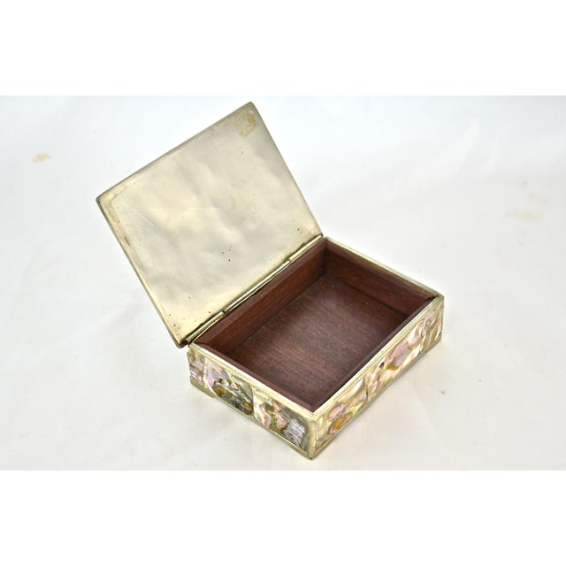 1960s Inlaid Abalone & Silver Box For Sale - Image 4 of 6