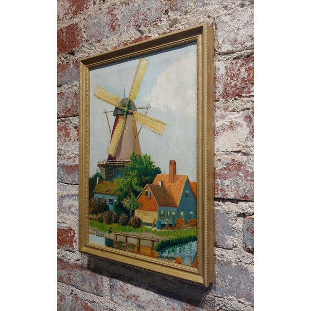 """Canvas C. Busch """"Dutch Windmill"""" Oil Painting For Sale - Image 7 of 10"""