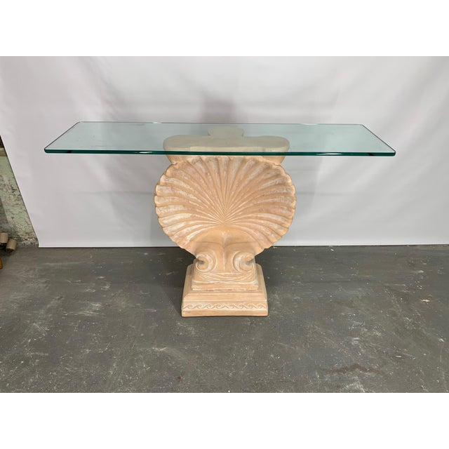 White Hollywood Regency Shell Form Console Table After Edward Wormley For Sale - Image 8 of 8