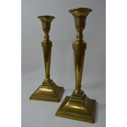 1970s Brass Candlestick Holders - a Pair For Sale - Image 5 of 6
