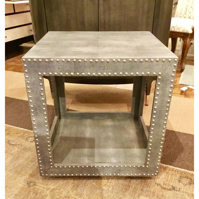 Blue Regina Andrews Feaux Python Studded Accent Cube Table For Sale - Image 8 of 9