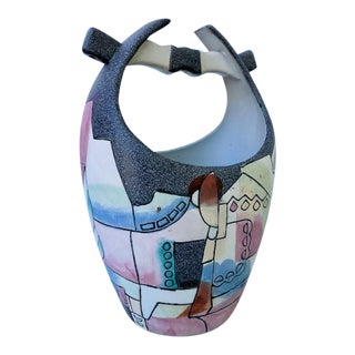 1980's Hand Painted Cubist Vase For Sale
