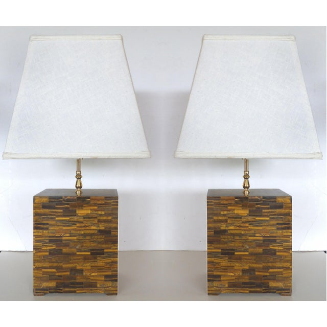 Tessellated Tigers Eye Table Lamps - A Pair - Image 2 of 10