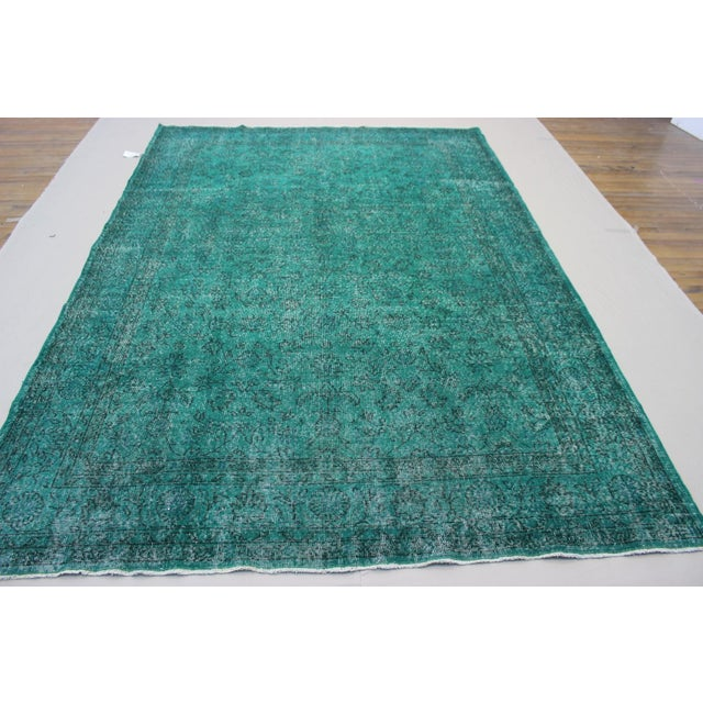 "Vintage Over-Dyed Teal Rug - 7'6"" x 10'9"" - Image 5 of 9"