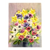 "Image of Original French ""Daffodils & Anenomes"" Watercolor Painting, Signed For Sale"