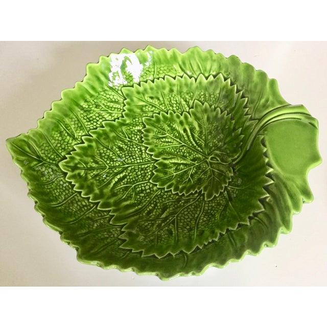 Italian Italian Green Majolica Leaf Bowls-A Pair For Sale - Image 3 of 13