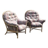 Image of Vintage McGuire Bamboo Rattan Accent Lounge Chairs W Floral Cushions - a Pair For Sale