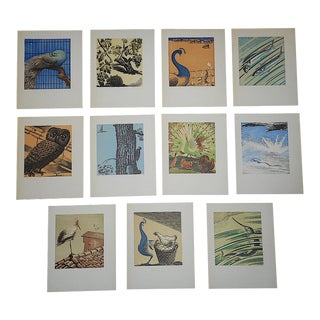 1940s Vintage Woodcuts by J. Kefalleno-Greert Deco Fauna - Set of 11 For Sale