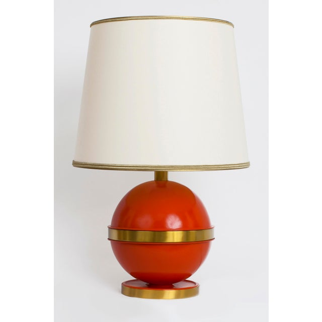 Metal 1970s Art Deco Bright Orange Nautical Brass Table Lamp For Sale - Image 7 of 7