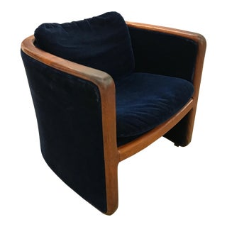 Vintage Jack Cartwright Wood and Blue Velvet Barrel Chair