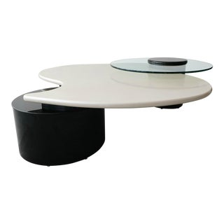 Large Post-Modern Articulating 3 Tier Black and White Coffee Table by Rougier For Sale