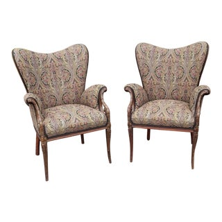 Fine Pair Carved Mahogany 1920s Upholstered Fireside Fire Place Library Armchairs For Sale