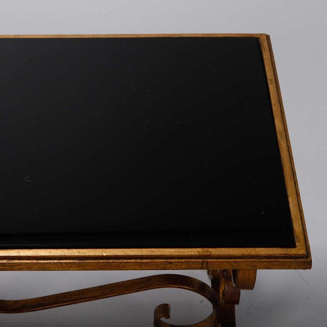 Glass Italian Gilt Iron and Black Glass Cocktail or Coffee Table For Sale - Image 7 of 8