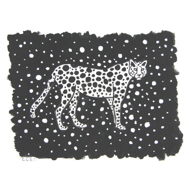 Chinoiserie Leopard Cheetah Black & White Painting by Cleo Plowden For Sale - Image 3 of 5
