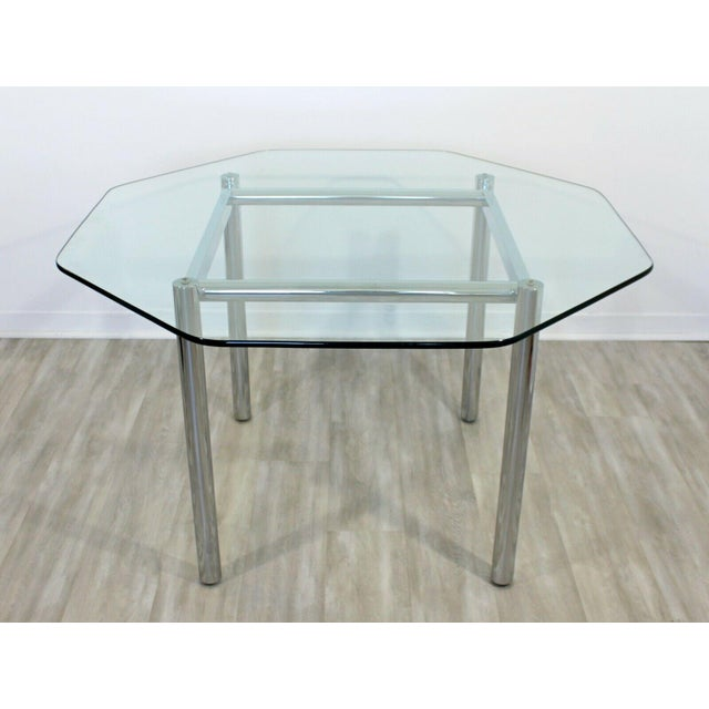 1970s Mid Century Modern Chrome Dinette Set 4 Side Chairs Octagon Glass Top Table 70s For Sale - Image 5 of 12