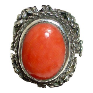Coral and Silver Mexican Ring For Sale