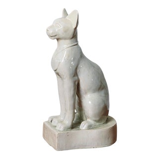 Vintage Glazed Egyptian Cat Statue For Sale