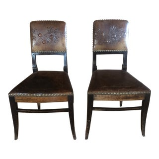 Antique Tooled Leather Chairs Directoire Beidermeier - A Pair For Sale