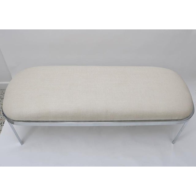 Mid-Century Modern D.I.A. Polished Chrome and Cream Upholstery Race-Track Form Bench For Sale - Image 3 of 7