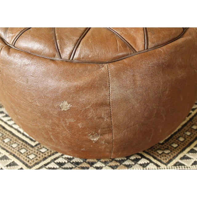 Vintage Brown Leather Floor Pouf - Image 6 of 7