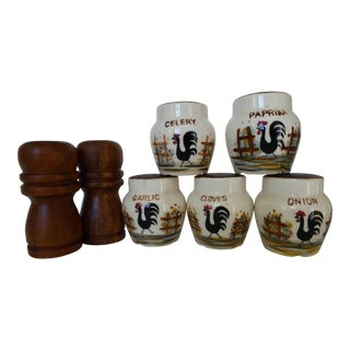 1950's Japanese Spice Shakers - Set of 7 For Sale