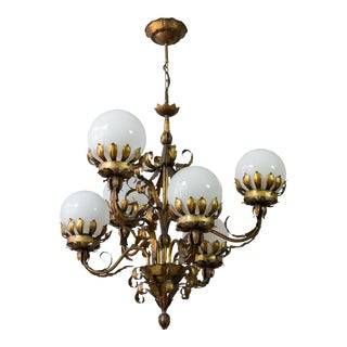 Gilt Metal Chandelier With White Glass Globes For Sale