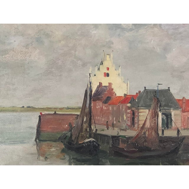 Attractive painting of boat dock, canal, and sailboats. Great colors would make this painting adaptable to many decors.