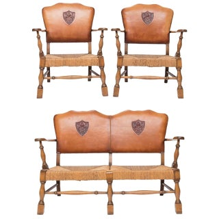 1930s Vintage Arts & Crafts Settee & Chairs- 3 Pieces For Sale