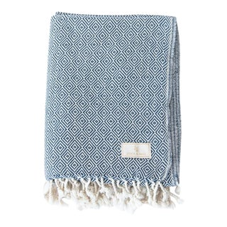 Stick & Ball Handwoven Cotton Towel in Navy Blue For Sale
