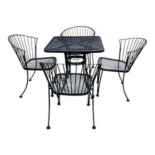 Mid Century Woodard Pinecrest Patio Set Table & 4 Chairs For Sale