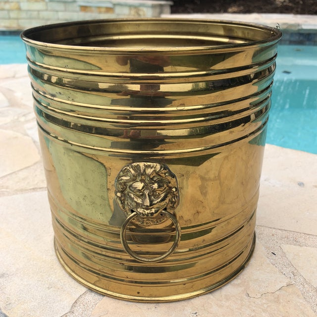 Vintage English Brass Dual Lions Head Planter For Sale - Image 9 of 10