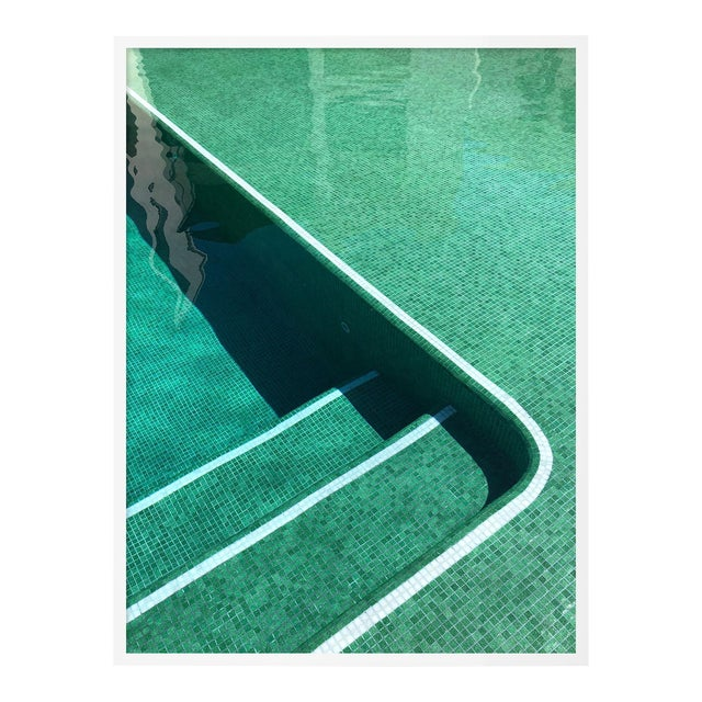 Pool by Christine Flynn in White Framed Paper, Small Art Print For Sale