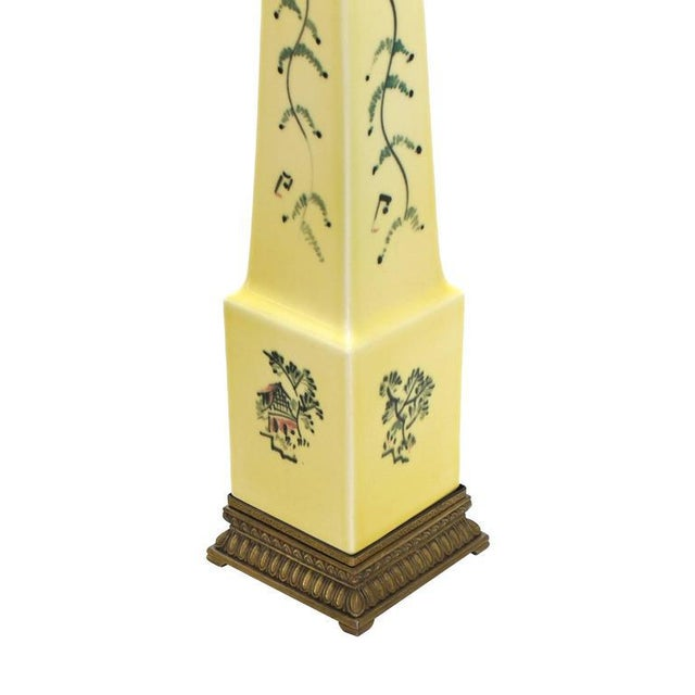 Early 20th Century Obelisk Shape Ceramic Table Lamp For Sale - Image 5 of 7