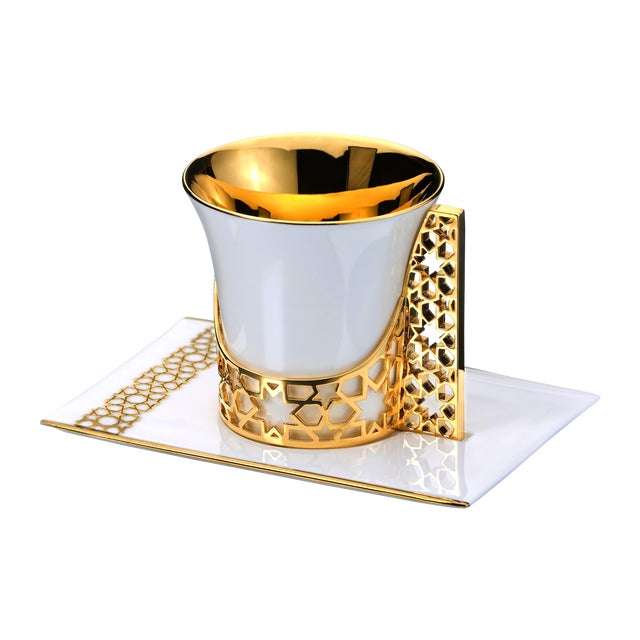 Gold Arabesque Coffee and Tea Cup with Saucer For Sale