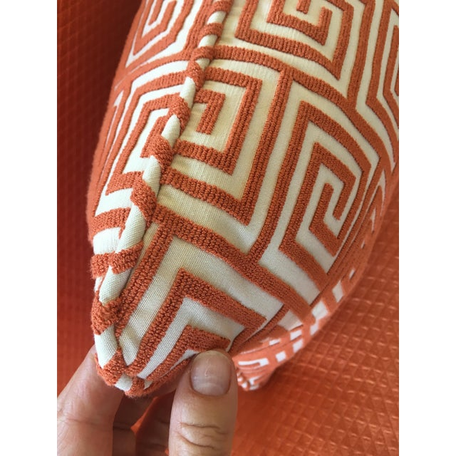 Custom Orange/Natural Fabric Extra Large Kidney Pillow - Image 4 of 8