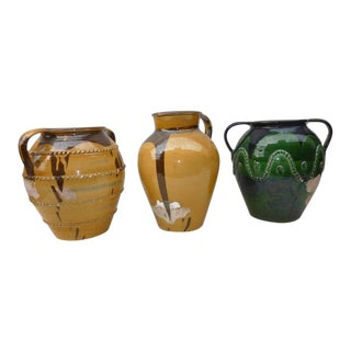 1970s Vintage Italian Olive Jars- Set of 3 For Sale